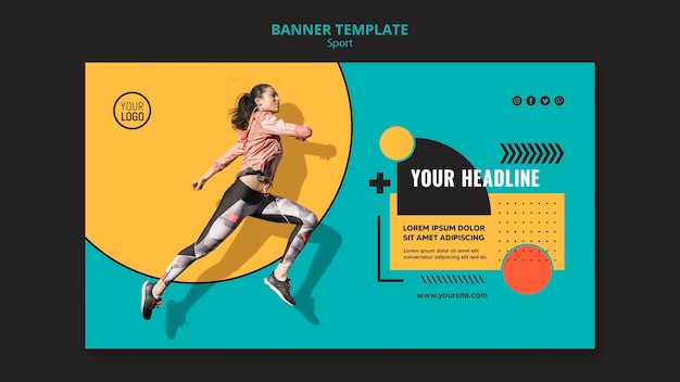 Fit woman running and jumping banner template