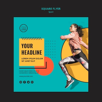 Fit woman running square flyer template
