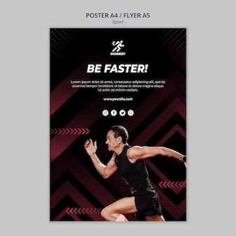 Fit спортсмен работает быстро шаблон плаката