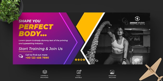 피트니스 및 헬스 클럽 홍보 페이스 북 커버 및 배너 디자인 서식 파일
