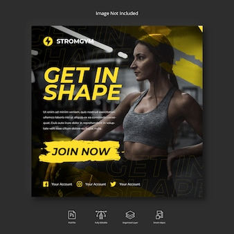Социальная сеть fitness and gym workout, шаблон поста в instagram или квадратный флаер