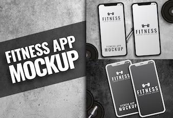 Фитнес-приложение Макет темной текстуры iphone