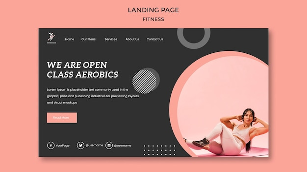 Fitness class landing page template
