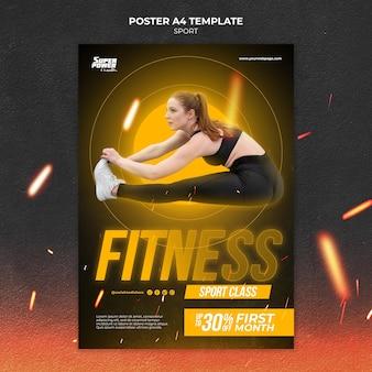 Шаблон плаката фитнес-класса Premium Psd