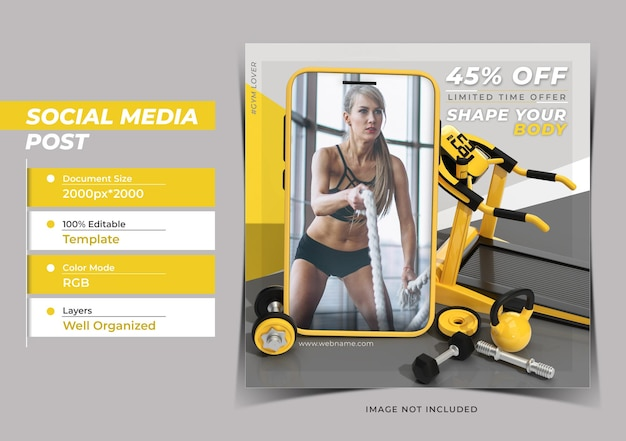 Концепция фитнеса с мобильным макетом цифровой маркетинг instagram p