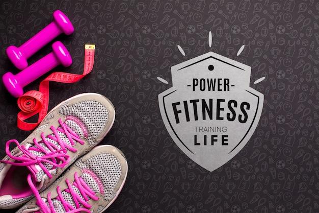 Attrezzature per il fitness con messaggio ispiratore
