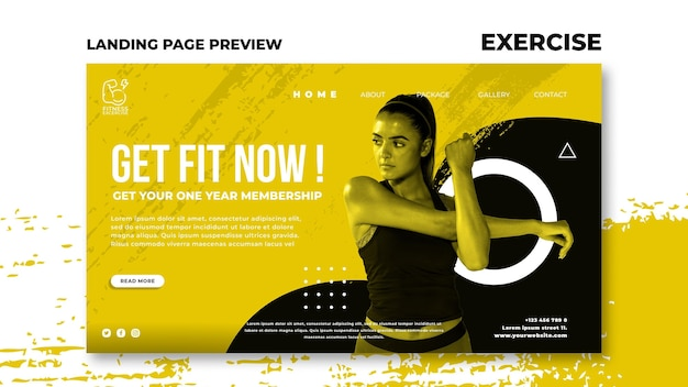 Fitness exercise landing page