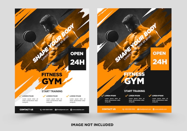 Fitness flyer template with grunge shapes