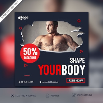Fitness gym club  banner template