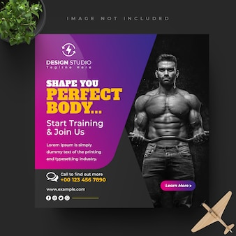 Fitness gym facebook instagram social media story and post banner design template