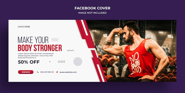 Fitness or gym facebook timeline cover and web banner  template