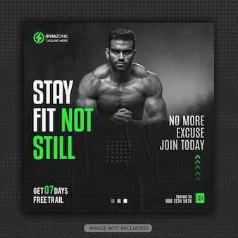Fitness gym flyer social media post or instagram stories template design