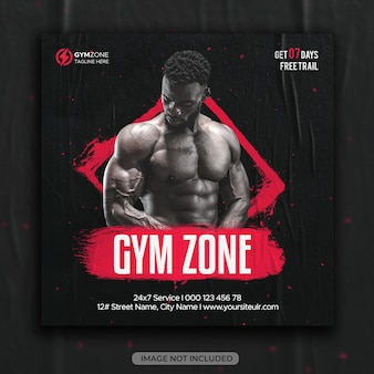Fitness gym instagram post or square social media flyer web template