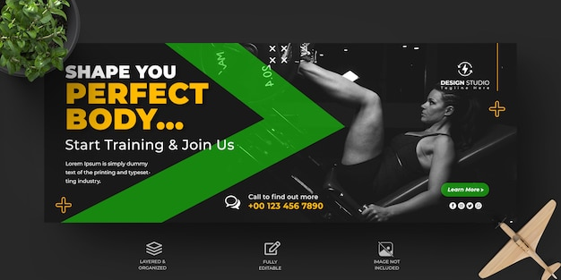 Fitness and gym promotional facebook cover and banner design template