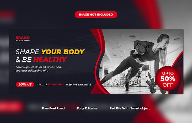 Fitness or gym promotional facebook cover template