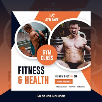 Fitness, gym social media banner design