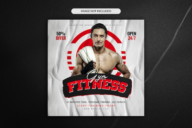 Fitness and gym social media instagram post and square flyer template