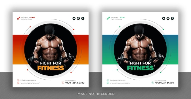 Fitness and gym social media instagram post web banner and square flyer design template