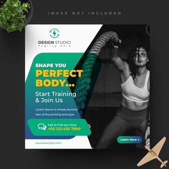 Fitness gym social media post design template