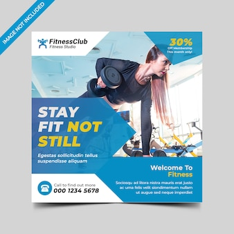Fitness gym social media post flyer template