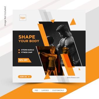 Fitness gym social  media post template design