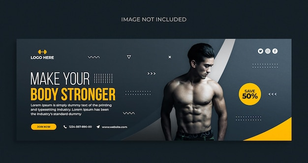 Fitness or gym social media web banner flyer and facebook cover photo design template
