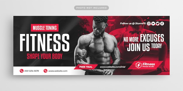 Fitness gym training facebook timeline cover and web banner template