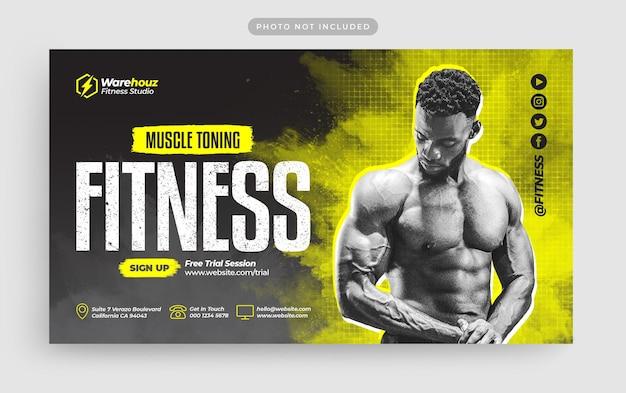 Веб-баннер фитнес-зала и значок youtube