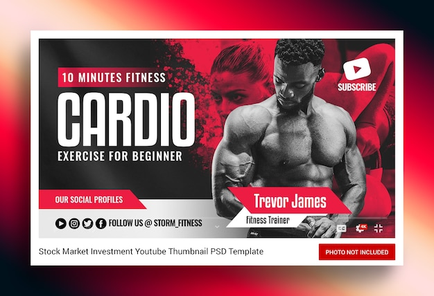 Fitness gym youtube thumbnail and web banner
