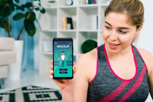 Mock-up del concetto di fitness a casa