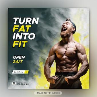 Fitness instagram gym social media post or square banner design