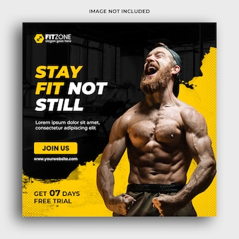 Fitness instagram gym social media post template premium psd