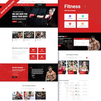 Fitness landing page ui