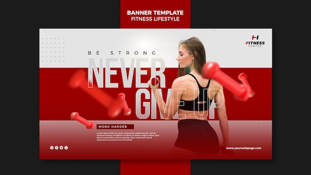 Fitness lifestyle ad banner template