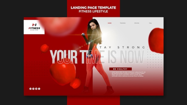 Fitness lifestyle landing page template