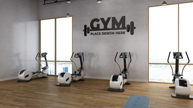 Fitness logo mockup in realistic render gym room