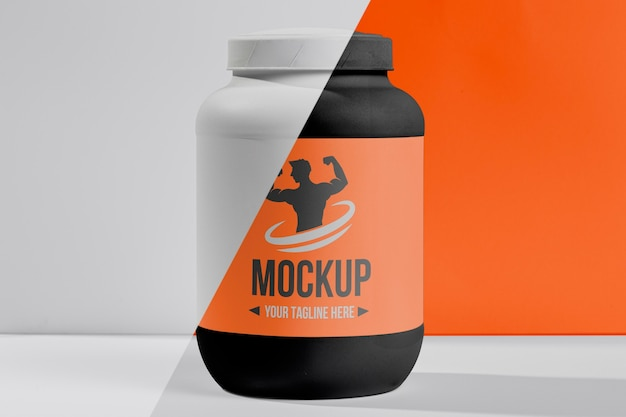 Fitness mock-up plastic bottle of protein