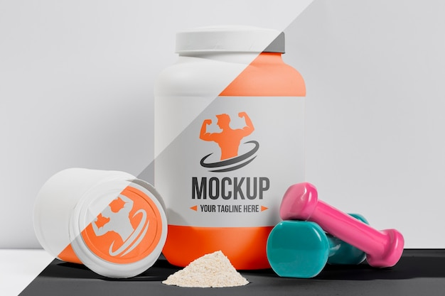 Proteine e pesi mock-up per il fitness