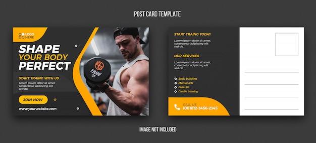 Fitness postcard design template