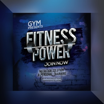 Fitness power instagram post template
