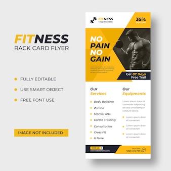 Modello di volantino fitness rack card dl