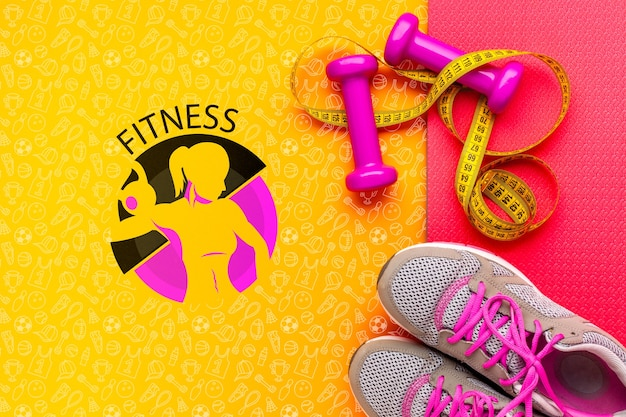 Fitness shoes and weights equipment