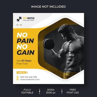 Social media fitness e modello di post instagram