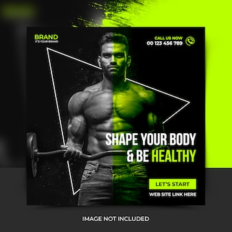 Fitness social media post template, banner post