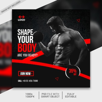 Fitness social media post template, instagram post