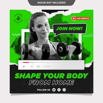 Fitness sports from home social media template post