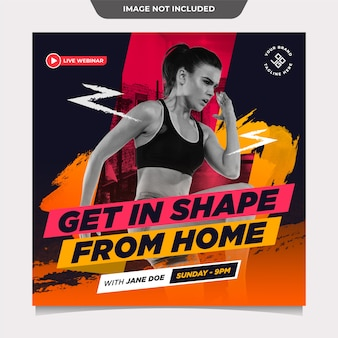 Fitness sports from home social media template