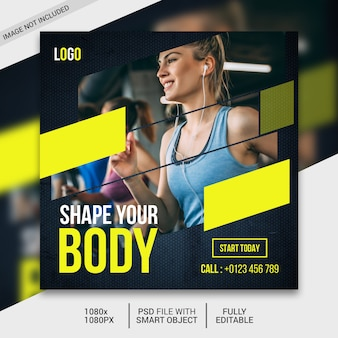 Fitness square flyer template or instagram post