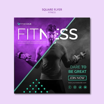 Fitness square flyer template