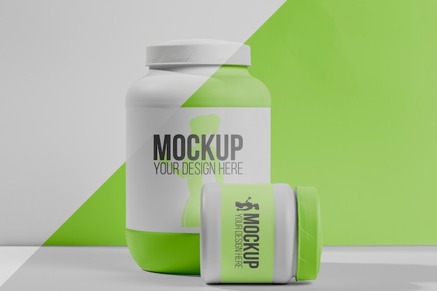 Фитнес-стимуляторы порошок и вид спереди таблетки